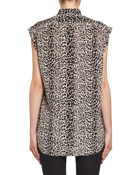 Babycat-Print Sleeveless Silk Blouse, Multi