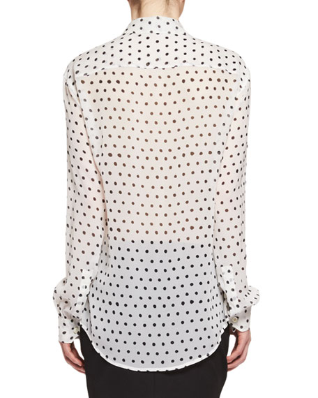 Polka Dot-Print Silk Blouse, White/Black
