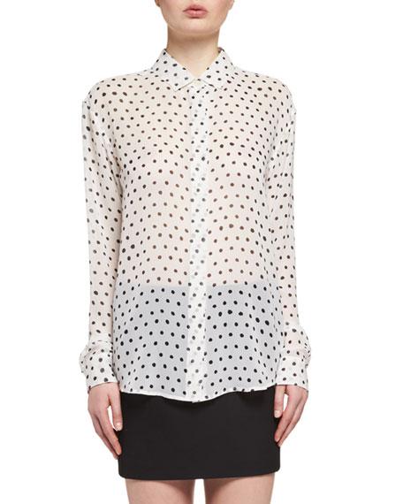 Polka Dot-Print Silk Blouse, White/Black