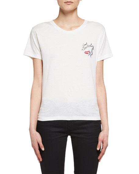 11841578d1eb Saint Laurent Lips Smoking Short-Sleeve T-Shirt, White