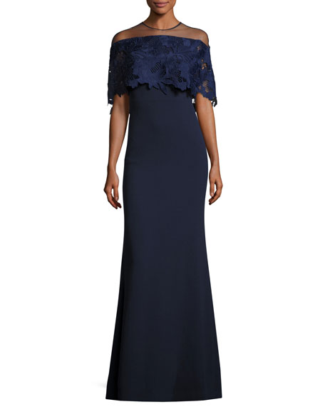 Guipure Lace-Capelet Illusion Gown