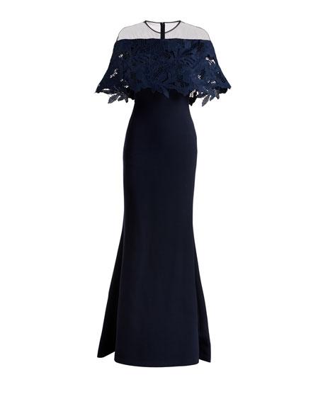 Guipure Lace-Capelet Illusion Gown