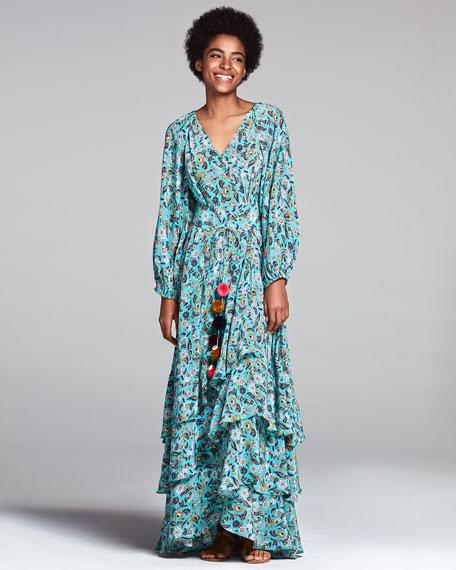 Frederica Paisley-Print Silk Maxi Dress, Multi