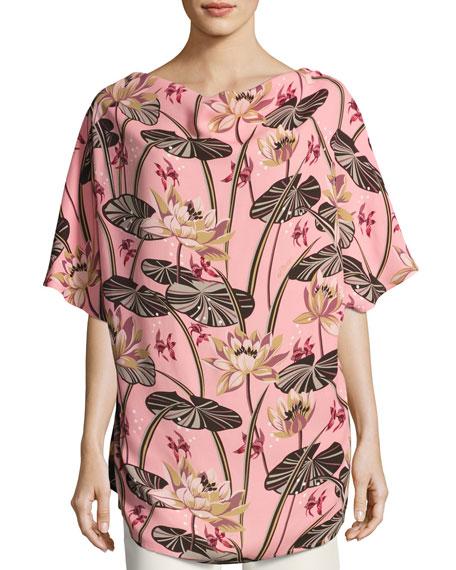 Printed Short-Sleeve Scarf Top, Pink/Black