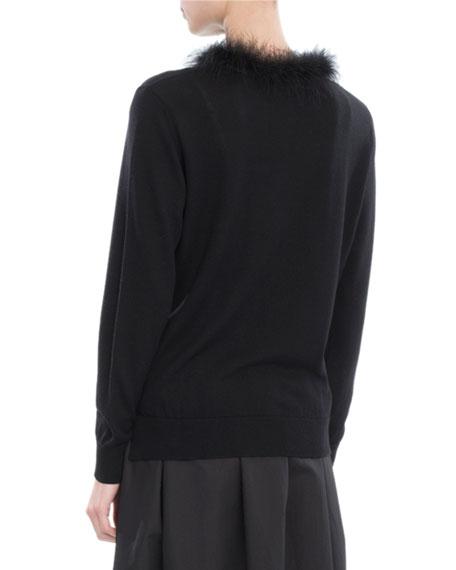 Feather-Trim Merino-Silk-Cashmere Cardigan, Black