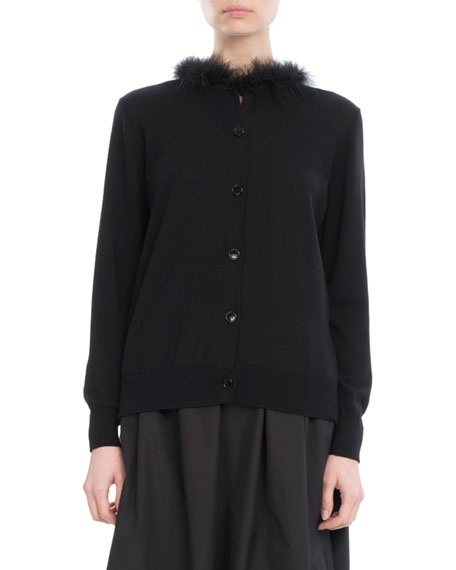 Simone Rocha Feather-Trim Merino-Silk-Cashmere Cardigan, Black