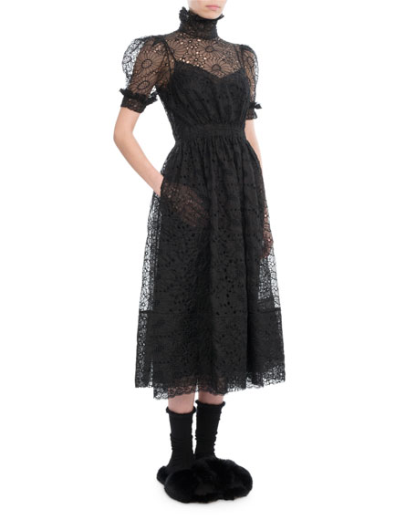 Puff-Sleeve High-Neck Lace Midi Dress, Black
