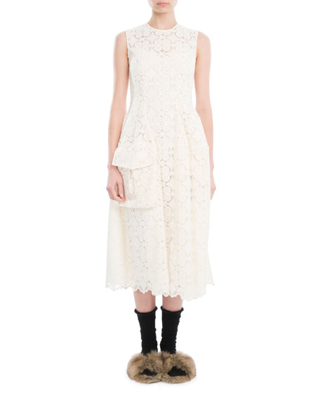 Sleeveless Organdy Lace Midi Dress, Ivory