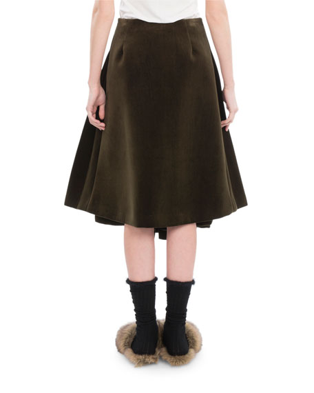 Pleated Velvet A-Line Skirt, Khaki