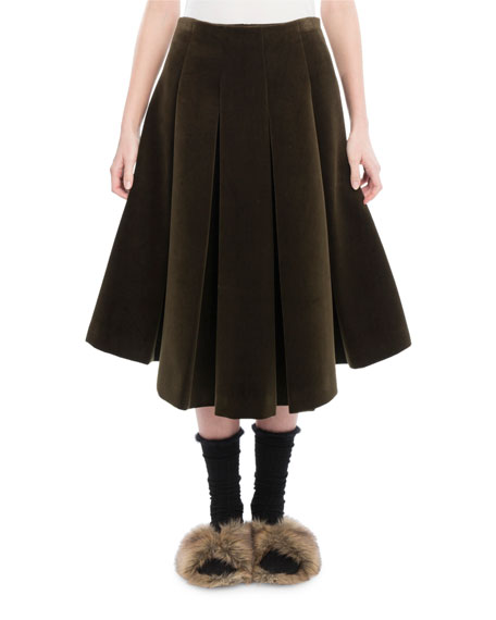 Pleated Velvet A-Line Skirt, Khaki