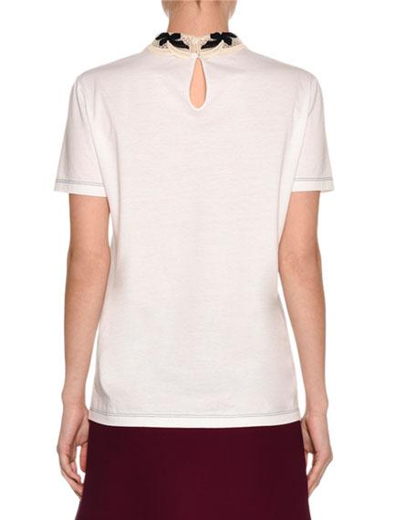 Jersey Tee w/Macrame Bow Collar, White/Black