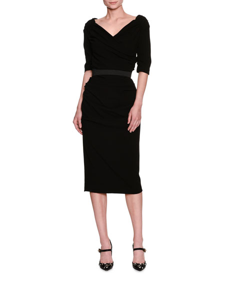 Ruched Elbow-Sleeve Sheath Dress, Black