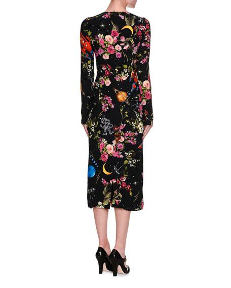 Rocket Ship Floral-Print Long-Sleeve Midi Dress, Black