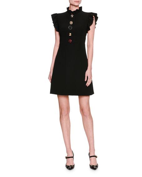 Jewel-Button Ruffle-Trim Minidress, Black