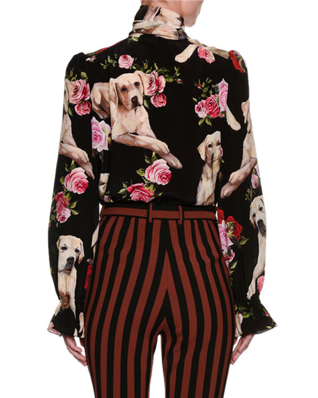 643d1e46 Dolce & Gabbana Floral & Golden Retriever Silk Tie-Neck Blouse, Black