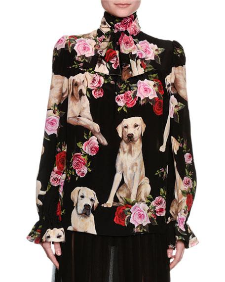 Floral & Golden Retriever Silk Tie-Neck Blouse, Black