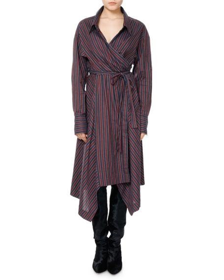 Mila Striped Cotton Wrap Shirtdress