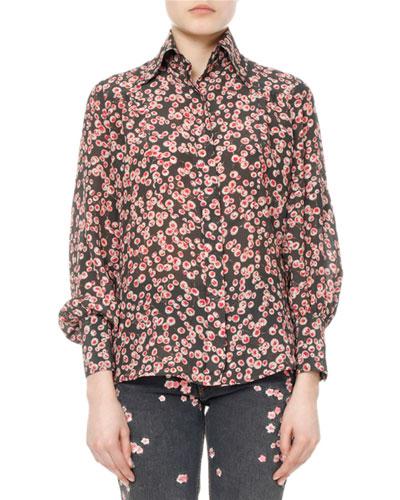 Salina Floral Pansy-Print Silk Shirt