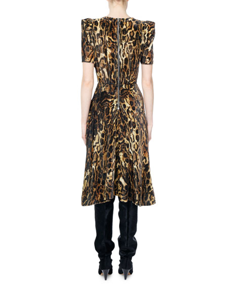 e9f5a6a50426 Isabel Marant Ulia Leopard-Print Velvet Midi Dress