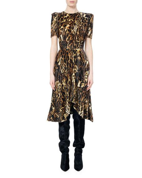 Ulia Leopard-Print Velvet Midi Dress