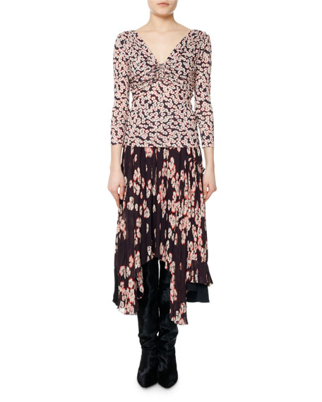 Marlow Ruched Floral-Print Top