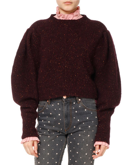 Elaya Knit Puff-Sleeve Sweater