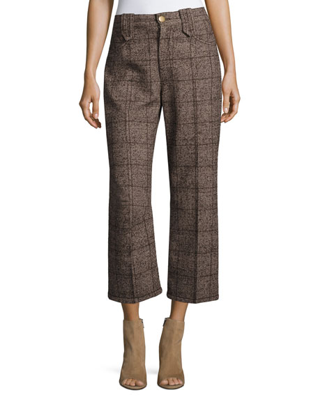 Plaid Tweed Cropped Pants