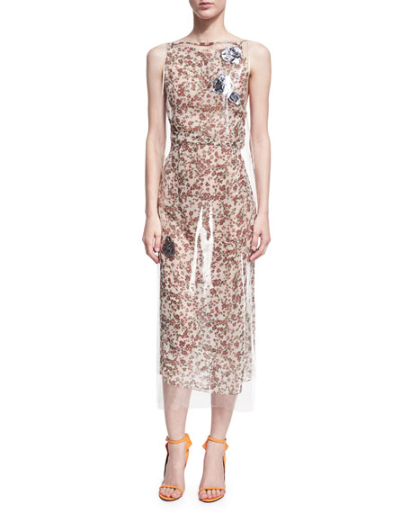 Floral-Print Dress with Clear Vinyl Overlay