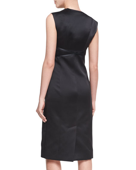 Open-Front Sleeveless Sheath Dress