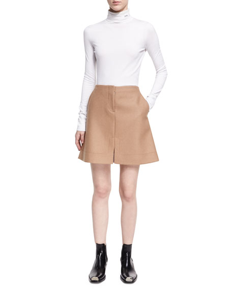 Notched Wool Mini Skirt