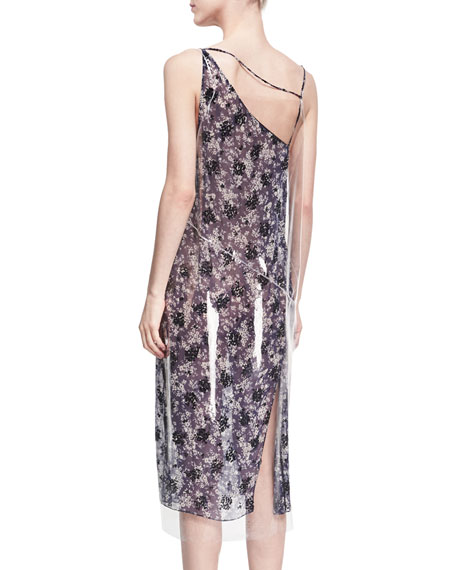 Plastic-Covered Floral Slip Dress