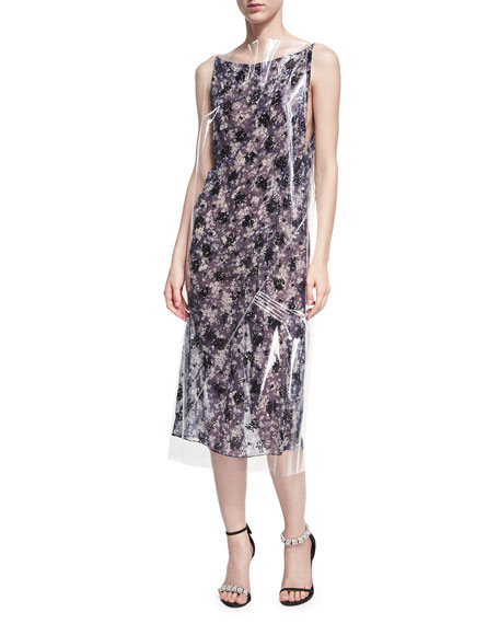 Plastic-Covered Floral Slip Dress