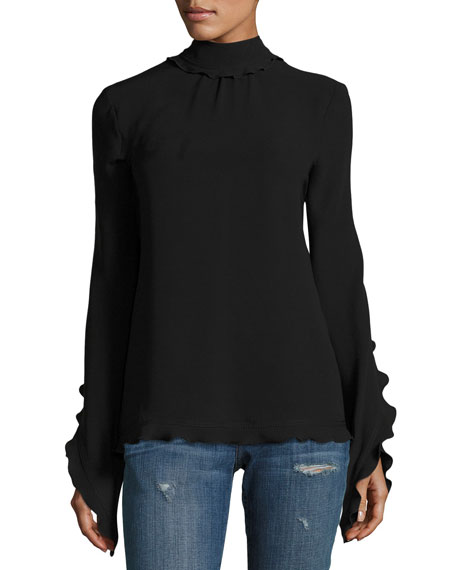 Mock-Neck Open-Back Blouse