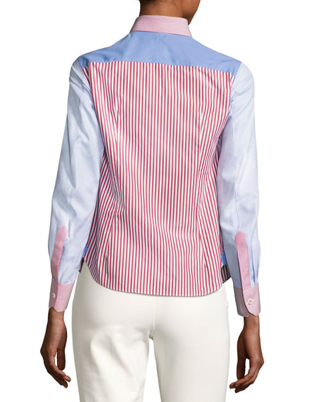 Short Mixed-Stripe Patchwork Blouse