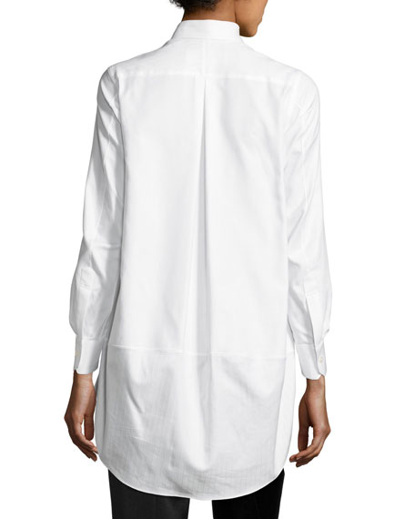 High-Low Poplin Blouse