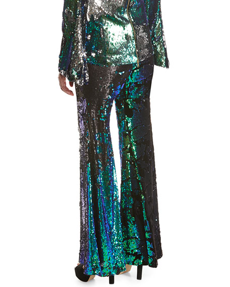 Sequined Jersey Wide-Leg Pants
