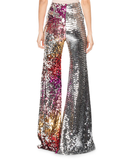 Two-Tone Sequined Pants