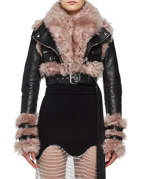 Shearling & Leather Cropped Moto Jacket