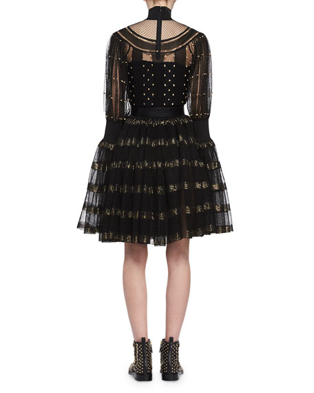 Metallic-Striped Lace Cocktail Dress, Black/Gold