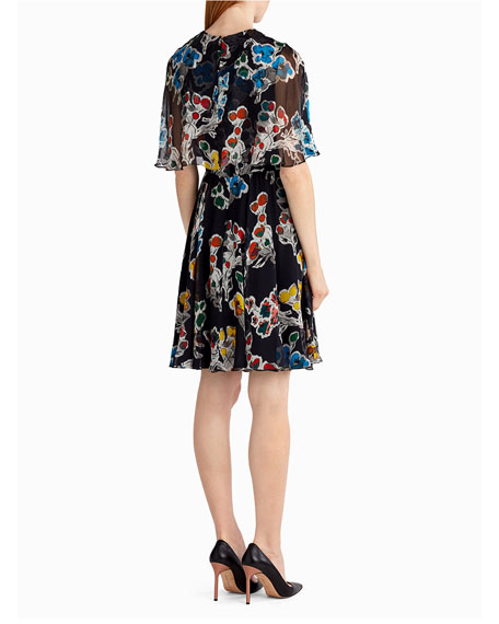 Floral-Print Silk Chiffon Dress
