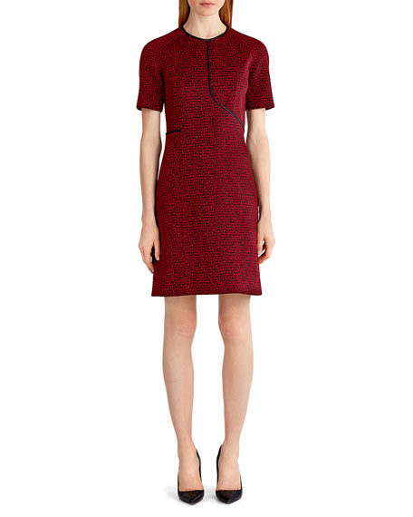 Short-Sleeve Tweed Jacquard Dress