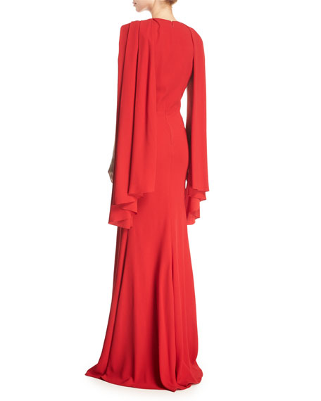 Sleeveless Crepe Scarf Gown