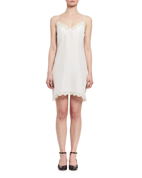 Lace-Trim Silk Slip Dress