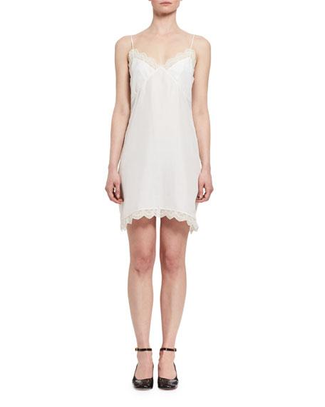 Lace-Trim Silk Slip Dress