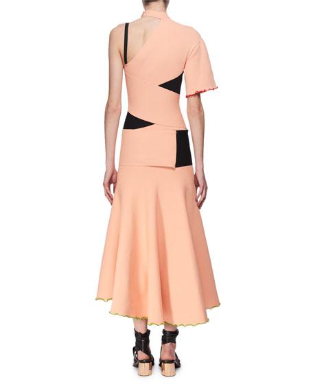 Exposed Bandage Asymmetric Midi Dress, Orange
