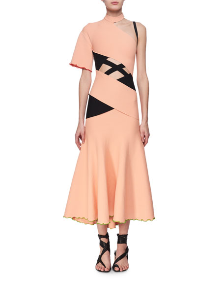 Exposed Bandage Asymmetric Midi Dress, Orange