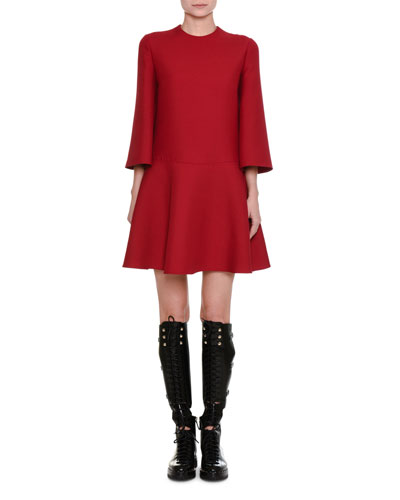 3/4-Sleeve Crepe Couture A-Line Dress