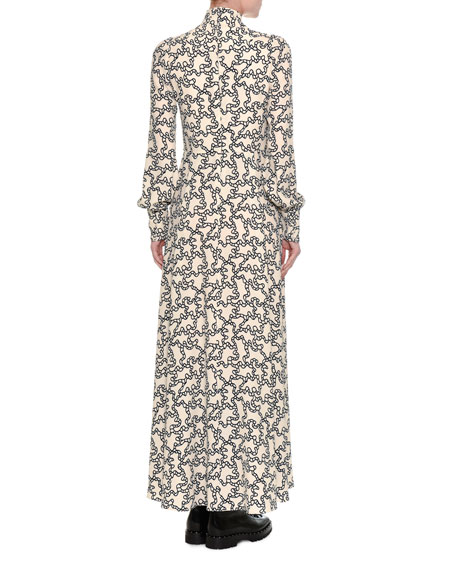 Chain-Print Sable Mock-Neck Dress