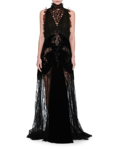 Lace & Chiffon Mock-Neck Gown with Velvet Trim, Black