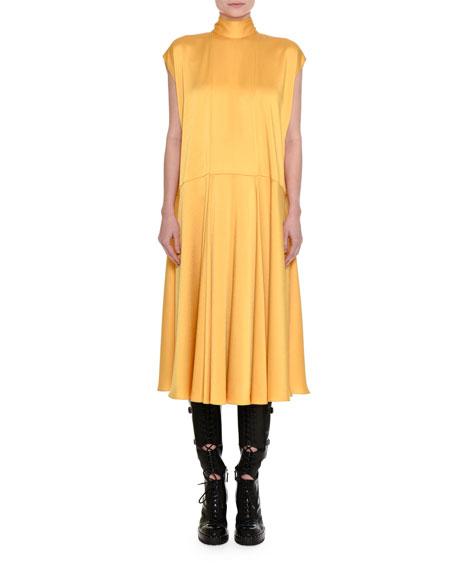 Satin Mock-Neck Midi Dress
